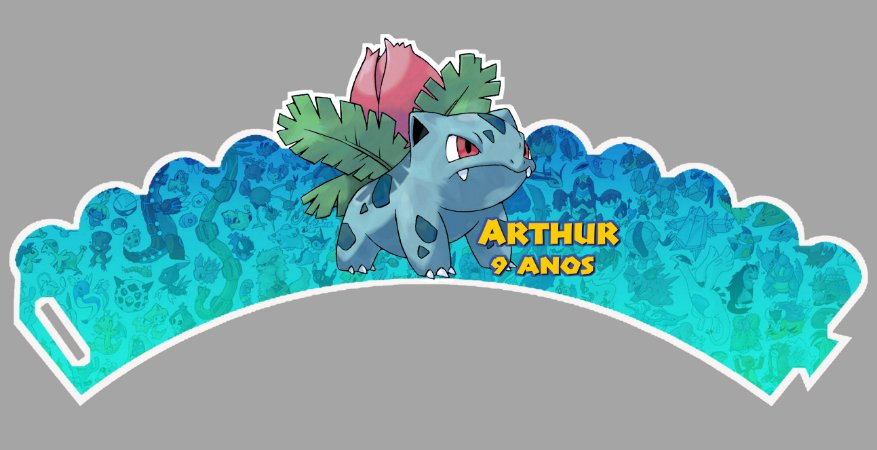 Arte para wrapper (saia) personalizado para Cupcakes Pokémon GO 002