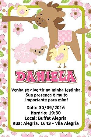 Convite digital personalizado Fazendinha Rosa 021