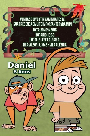 Convite digital personalizado Meu Amigo da Escola e um Macaco 004