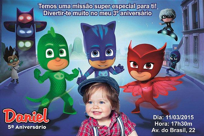 Convite digital personalizado PJ Masks – Heróis de Pijama 001 com foto