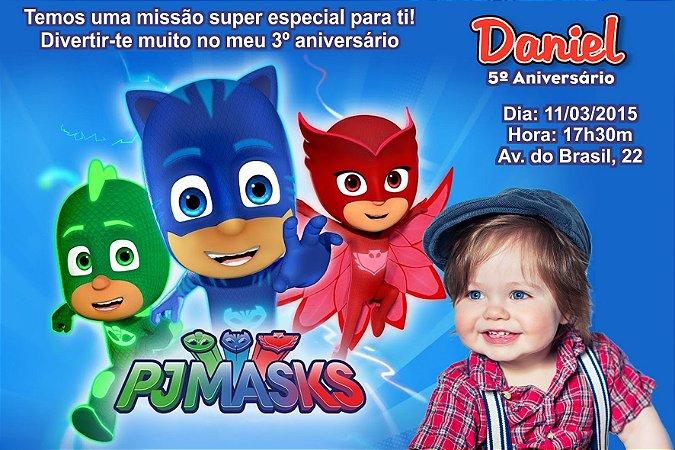 Convite digital personalizado PJ Masks – Heróis de Pijama 002 com foto