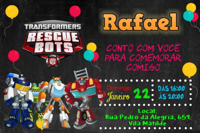 Convite digital personalizado Transformers Rescue Bots 005