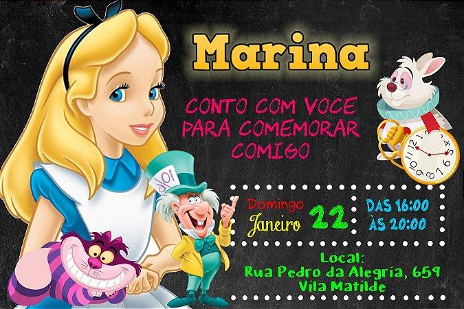 Convite digital personalizado Alice no país das maravilhas 020
