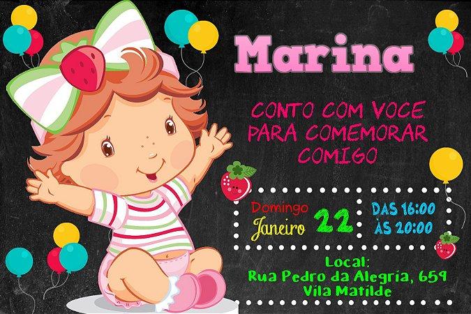 Convite digital personalizado Baby Moranguinho 008
