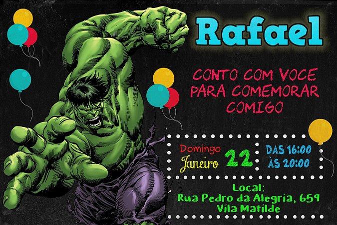 Convite digital personalizado Hulk 010