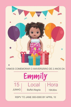 Convite digital personalizado Baby Alive 003