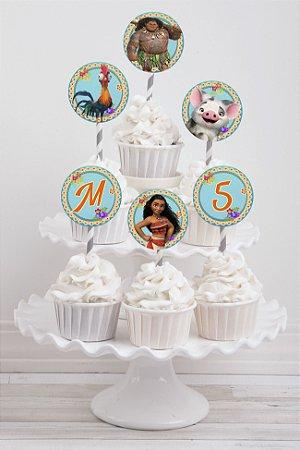 Embalagem com 20 toppers para cupcake Moana
