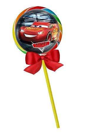 Adesivo personalizado para pirulito Carros da Disney
