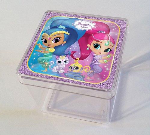 Adesivo caixinha acrílica 5x5cm Shimmer e Shine