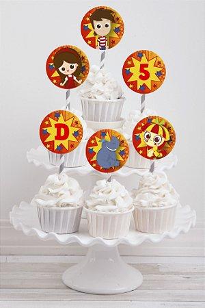 Embalagem com 20 toppers para cupcake Sítio do Pica-Pau Amarelo
