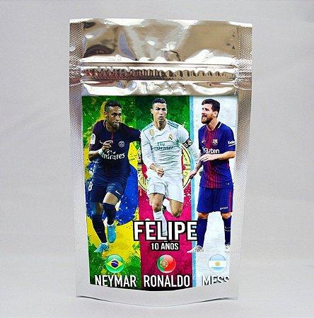 Saco metalizado com tag e corrente Neymar,Messi e Cristiano Ronaldo