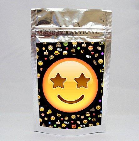 Saco metalizado com tag e corrente Emoji