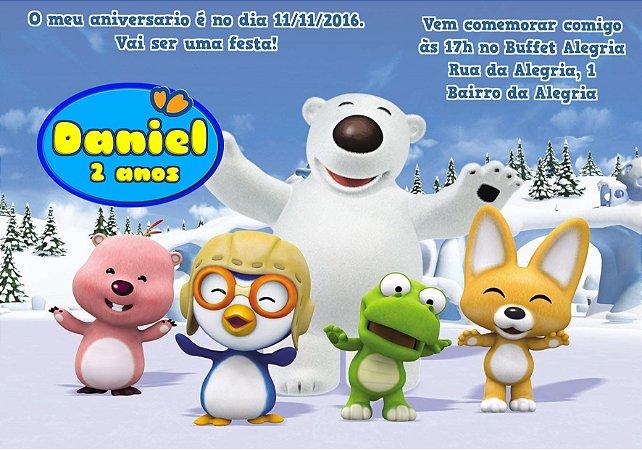 Convite digital personalizado Pororo: O Pequeno Pinguim 001