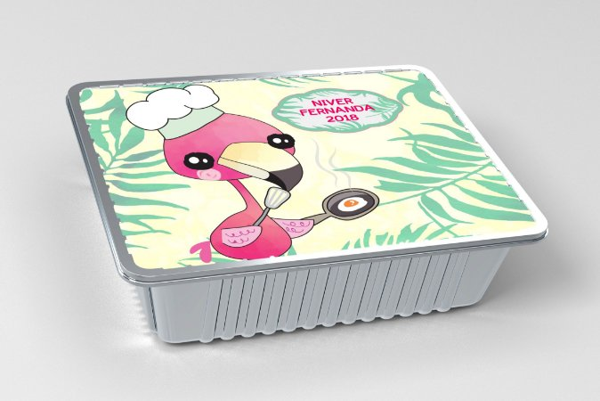 Tampa para marmitinha personalizada Flamingo
