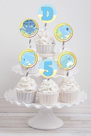 Embalagem com 20 toppers para cupcake Fundo do Mar