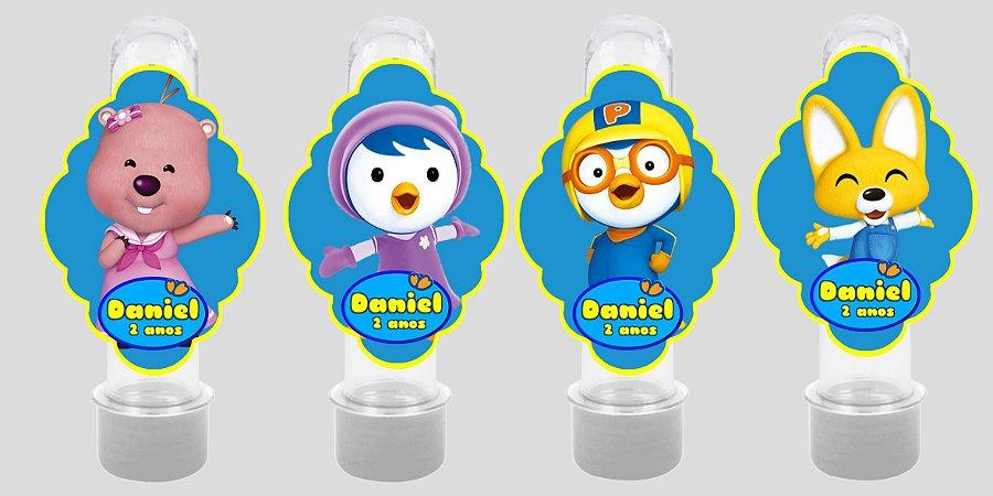 Embalagem com 8 apliques para Tubete Pororo: O Pequeno Pinguim