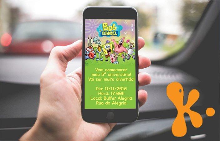 Convite personalizado para WhatsApp Bob Esponja