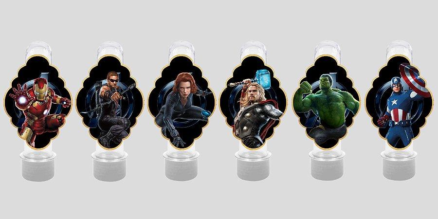 Embalagem com 12 apliques para Tubete Vingadores: Guerra Infinita