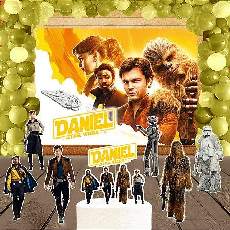 Kit convite, painel, totens e topo bolo Han Solo: Uma História Star Wars