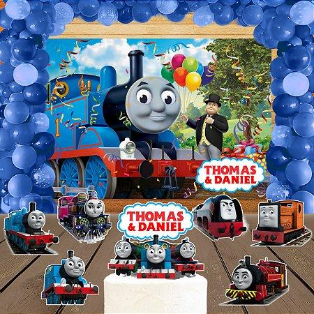 Kit convite, painel, totens e topo bolo Thomas e Seus Amigos