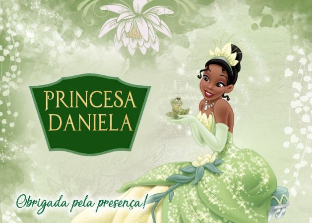 Cartão de Agradecimento Princesa Tiana - Princesa e o Sapo
