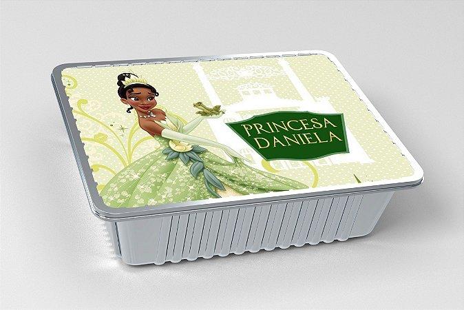 Tampa para marmitinha personalizada Princesa Tiana - Princesa e o Sapo