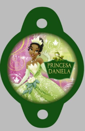 Tag para canudinho Princesa Tiana - Princesa e o Sapo