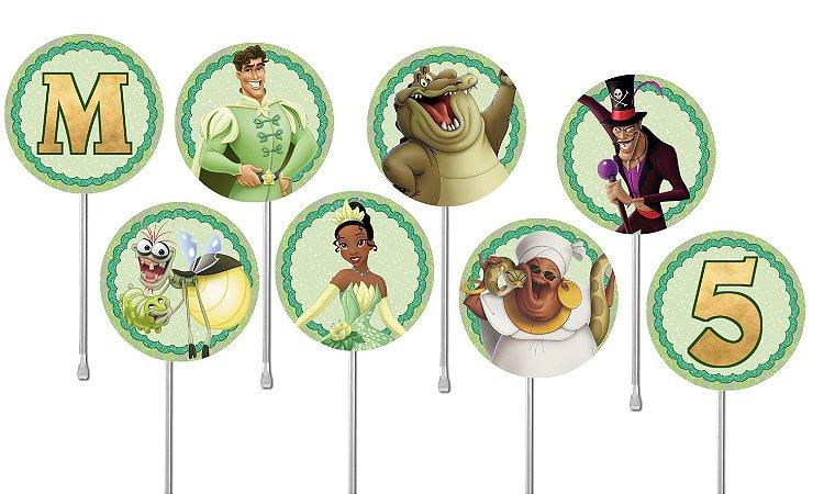 Embalagem com 24 toppers para cupcake Princesa Tiana - Princesa e o Sapo