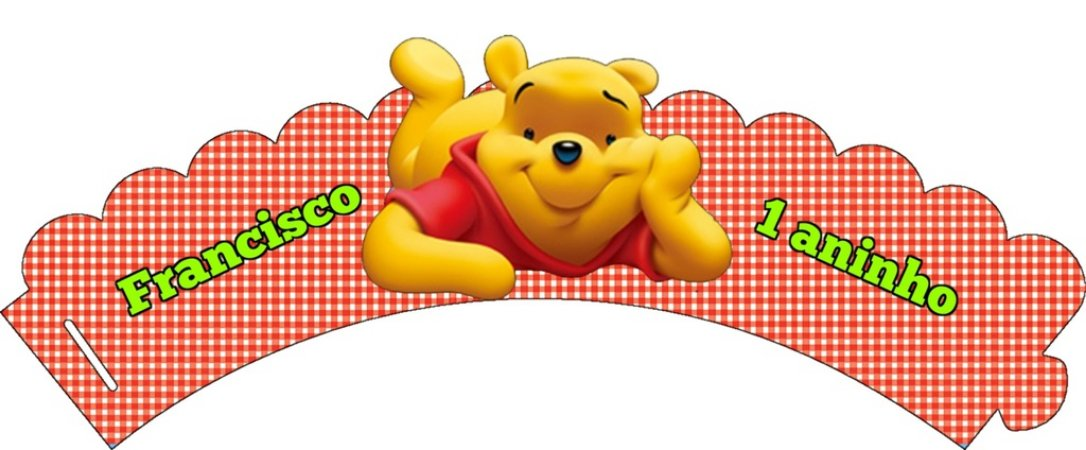 Pacote com 6 Wrappers personalizados Ursinho Pooh