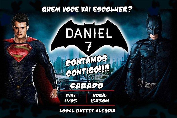 Convite digital personalizado Batman Vs Superman 001