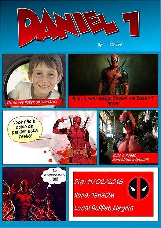 Convite digital personalizado Deadpool 005