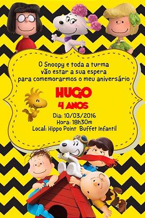 Convite digital personalizado Snoopy e Charlie Brown 009