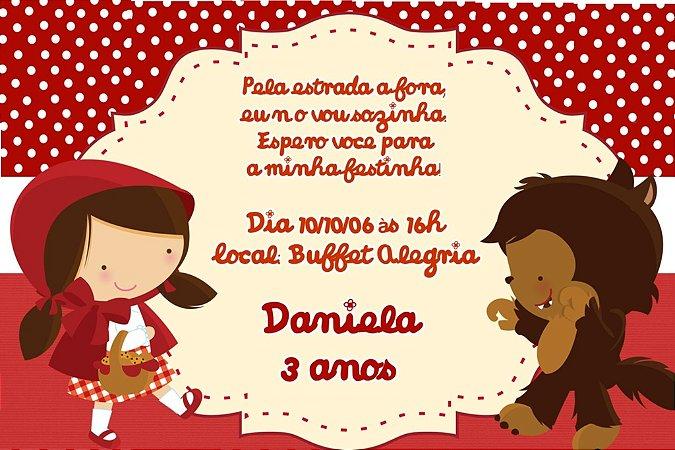 Convite digital personalizado Chapeuzinho Vermelho 001