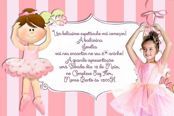 Convite digital personalizado Bailarina com foto 018
