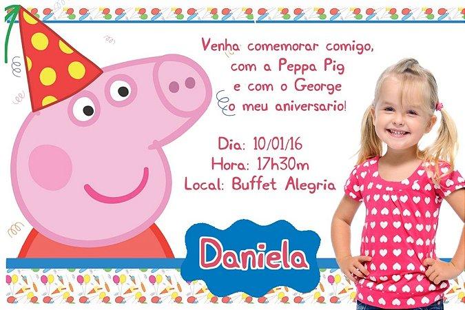 Convite digital personalizado Peppa Pig com foto 002