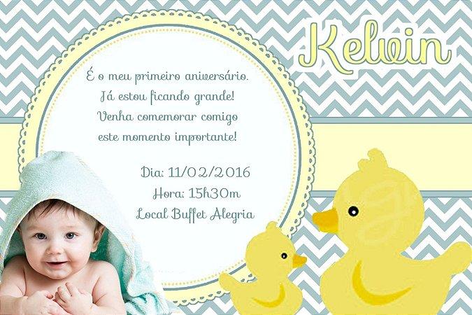 Convite digital personalizado Patinho Amarelinho com foto 003