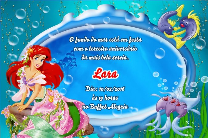 Convite digital personalizado Pequena Sereia 015