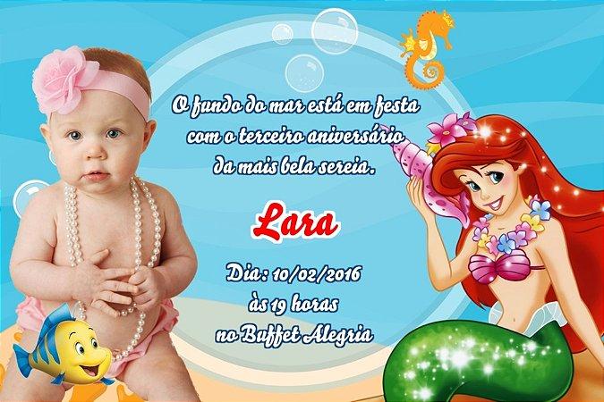 Convite digital personalizado Pequena Sereia com foto 002