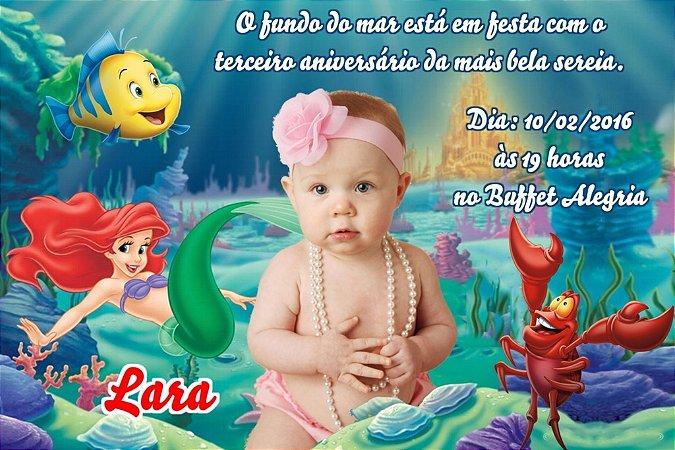 Convite digital personalizado Pequena Sereia com foto 006