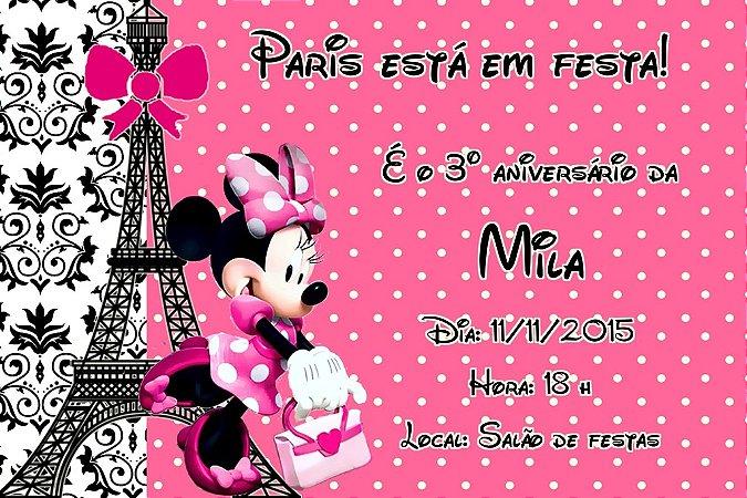 Convite digital personalizado Minnie em Paris 001