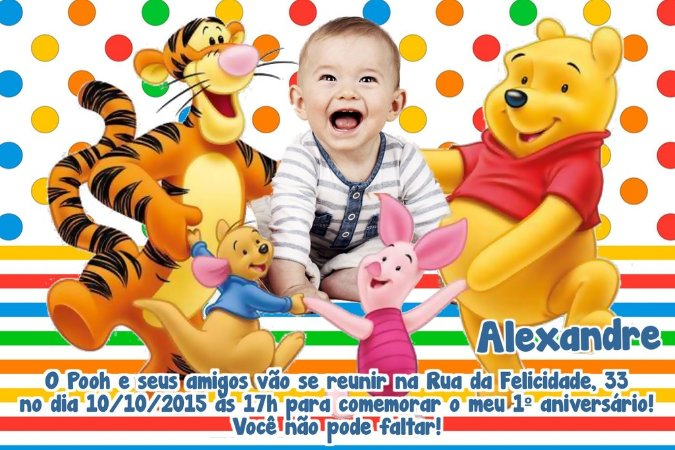 Convite digital personalizado Ursinho Pooh com foto 001