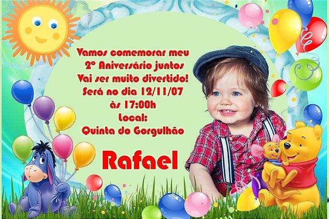 Convite digital personalizado Ursinho Pooh com foto 009