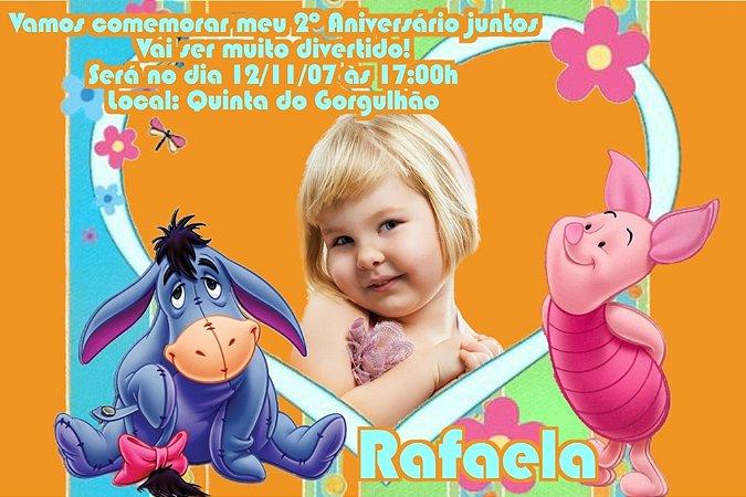 Convite digital personalizado Ursinho Pooh com foto 019