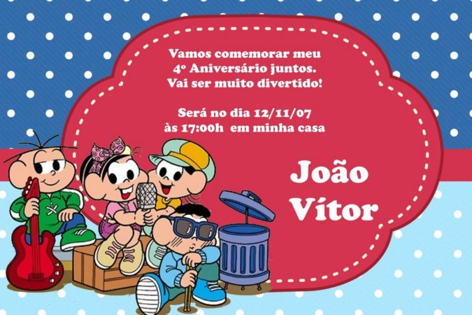 Convite digital personalizado Turma da Mônica 021