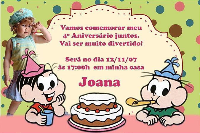 Convite digital personalizado Turma da Mônica com foto 017