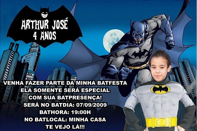 Convite digital personalizado Batman com foto 001