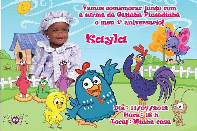 Convite digital personalizado da Galinha Pintadinha com foto 004