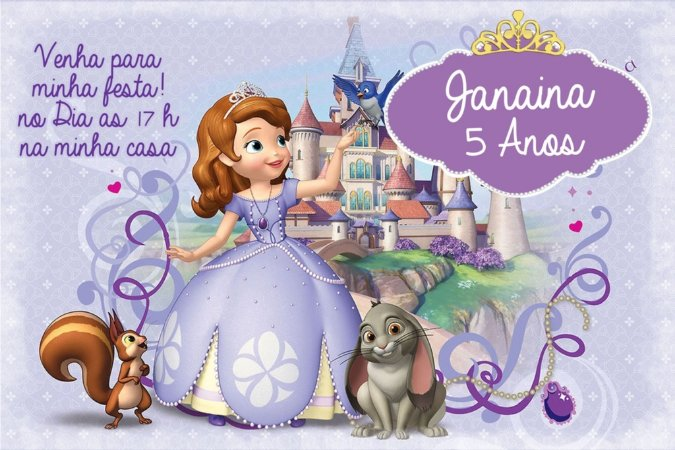 Convite digital personalizado Princesa Sofia 005