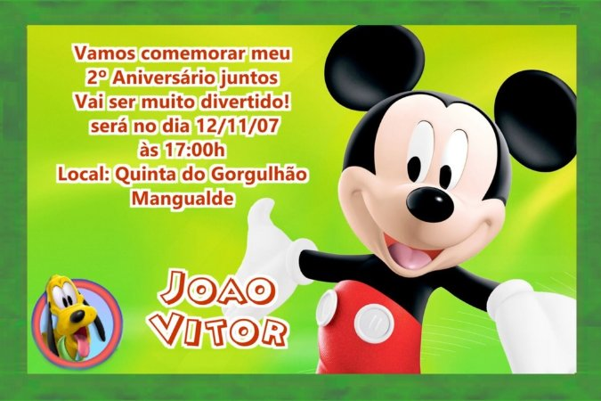 Convite digital personalizado da Casa do Mickey Mouse 001