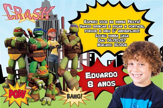 Convite digital personalizado Tartarugas Ninja com foto 005